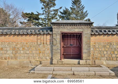 Korean Traditional Gate And Wall In Gyeongbokgung
