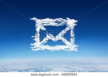 Cloud email against blue sky over clouds at high altitude