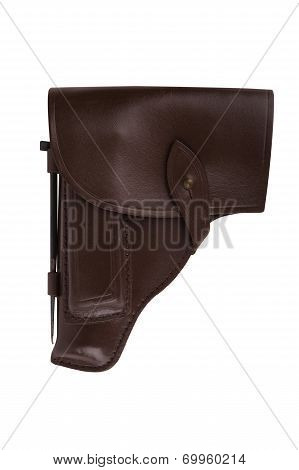 Leather Holster For Gun Isolated On White Background