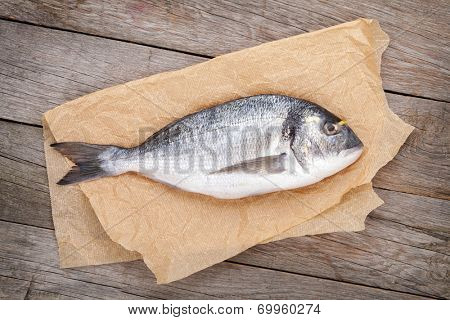 Fresh dorada fish on wooden table