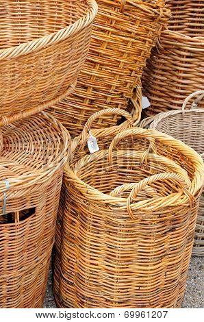 Wicker baskets.
