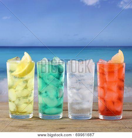 Lemonade Soda Drinks On The Beach And Sea