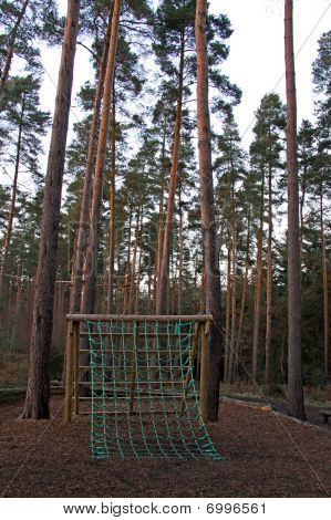 A cargo net on an assault course