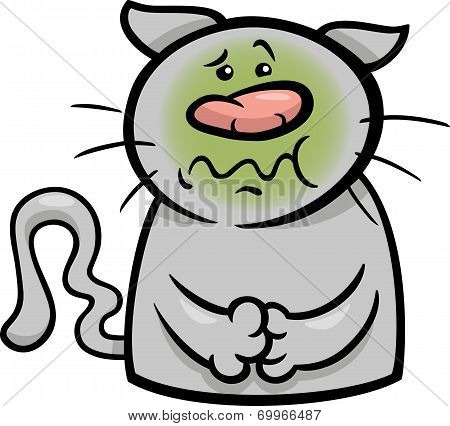 Sick Cat Cartoon Illustration