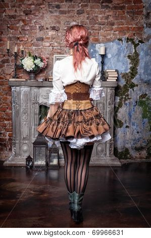 Beautiful Steampunk Woman Back