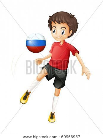 Illustration of a football player using the ball with the Russian flag on a white background
