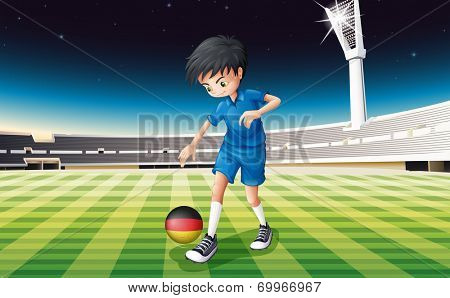 Illustration of a boy at the field using the ball with the flag of Germany