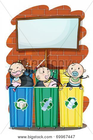 Illustration of the three kids in the trashbins below the empty signboard on a white background