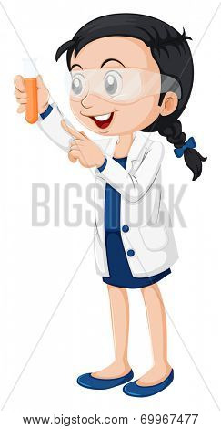 Illustration of a female scientist on a white background
