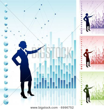 Business Woman On Background With Financial Charts