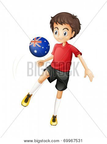 Illustration of a football player using the ball with the Australian flag on a white background