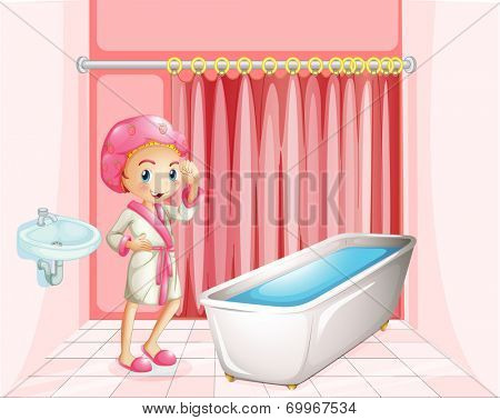 Illustration of a young lady taking a bath in the bathroom