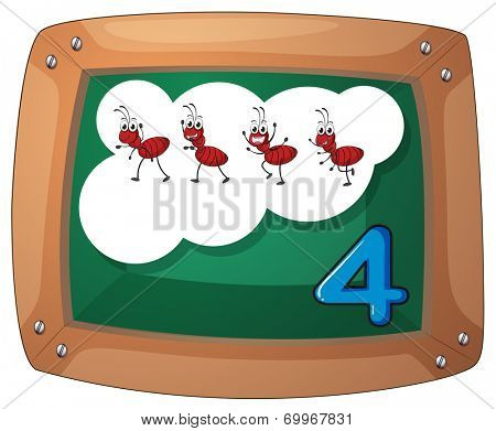 Illustration of a blackboard with four ants on a white background