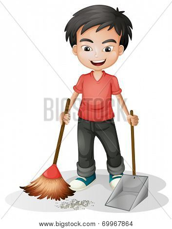 Illustration of a boy sweeping the dirt on a white background