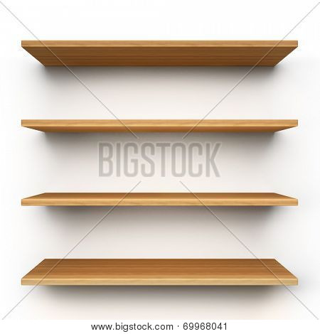 Empty wood shelves isolated on clean white background.