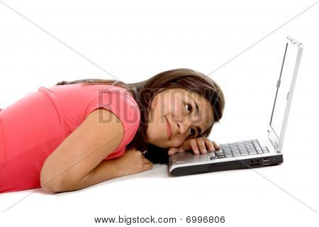 Bored Woman With A Laptop