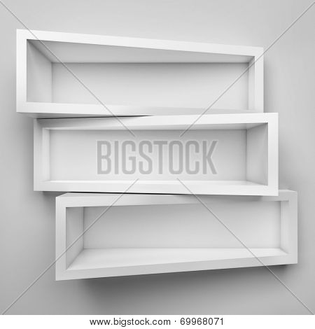 Empty three shelves on clean soft background.