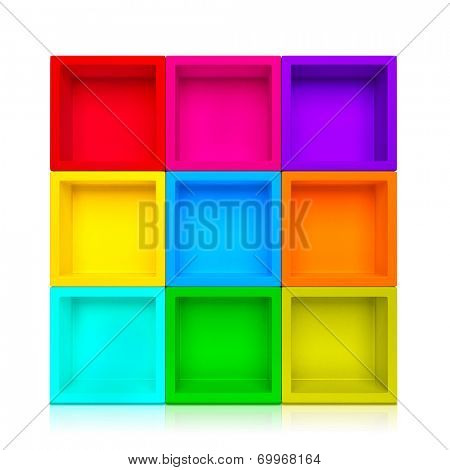 Empty colorful shelves isolated on clean white background.