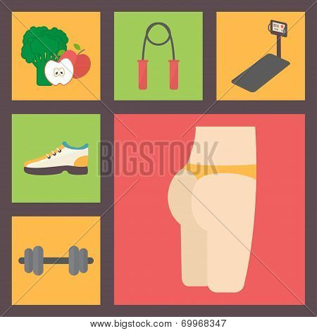 Fitness, sport equipment, caring figure, diet icons set. Nutrition, running trainer, shoes, jumping