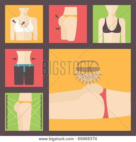 Keeping fit, weight loss, plastic surgery set. Perfect body illustration. Breast, figure, buttocks a
