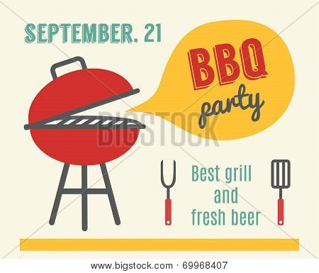 BBQ party. Barbeque and grill cooking. Flat design vector illustration.