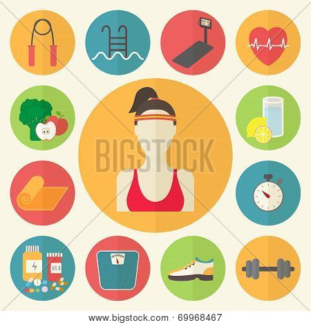 Fitness, sport equipment, caring figure, diet, weight loss icons set. Healthcare flat design vector