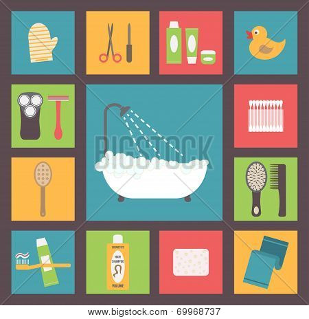 Bath supplies, hygiene accessories, cosmetics, hair care etc. Flat design vector icons set.