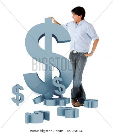 Man Leaning On A Dollar Symbol