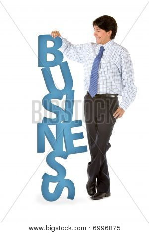Man Leaning On Word Business