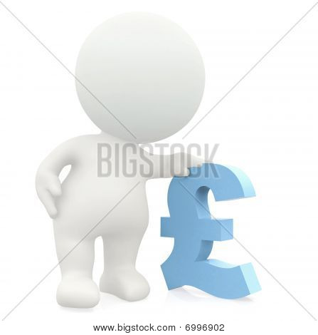 3D Man Leaning On A Pound Sign