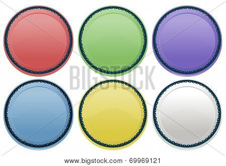 Illustration of the colourful plates on a white background