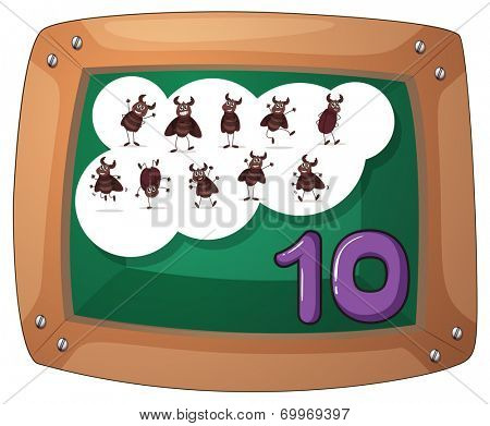 Illustration of a blackboard with ten cockroaches on a white background