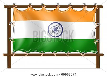 Illustration of a wooden frame with the flag of India on a white background