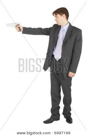 Businessman Aiming A Gun