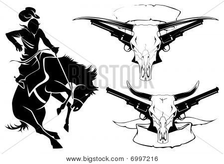 Stock vector : Tattoo wild west