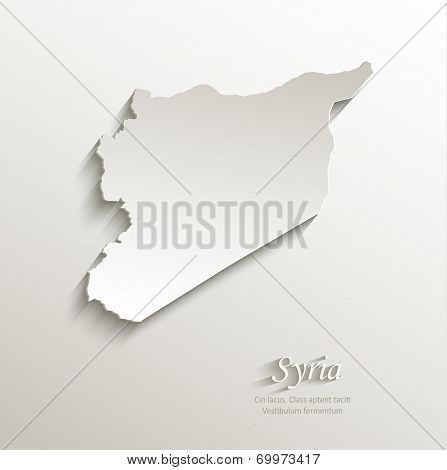 Syria map card paper 3D natural vector