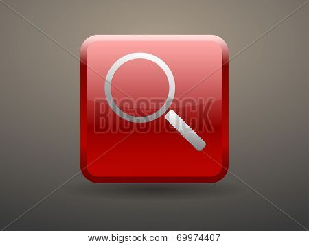 3d glossiness button icon of loupe