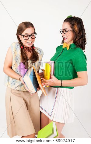 Cute Nerdy Girls Bump Into Each Other.
