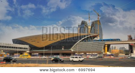 Dubai Metro Station And Metro Train