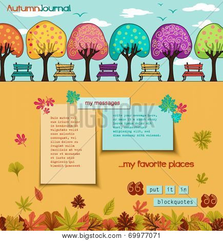 Autumn Journal - Whimsical tree alley with park benches, to mark the autumn season. Paper notes with plenty of copy space, hand drawn illustration