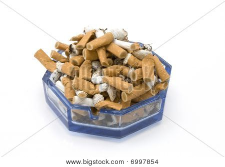 ashtray full of butts isolated on a white background