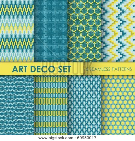 Vintage Art Deco Background Set - 8 seamless patterns for design and scrapbook - in vector