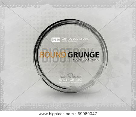 Vector ink grunge circle frame. Brush stroke circle texture for buttons. Vector illustration.