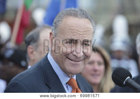 Senator Schumer addressing media