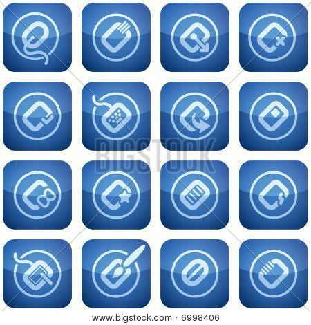 Cobalt quadratische 2d Icons Set: Computer Stuff