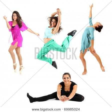 Young modern dancer, isolated on white