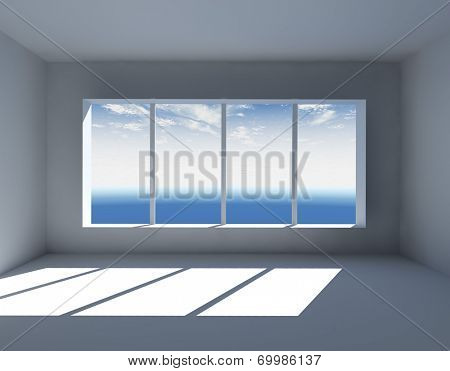 White empty interior with big window 3D render.