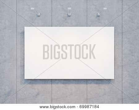 blank white billboard on the concrete wall