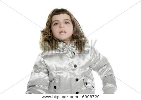 Coat Winter Silver With Little Beautiful Girl