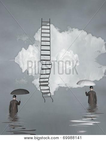 Man in flood with ladder above